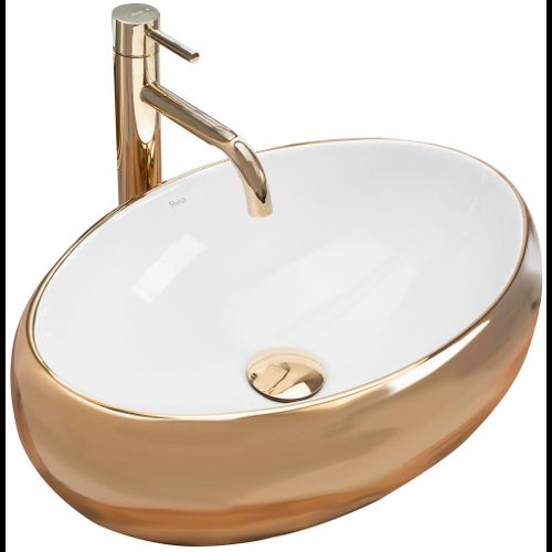 Countertop washbasin Rea Linda Gold White