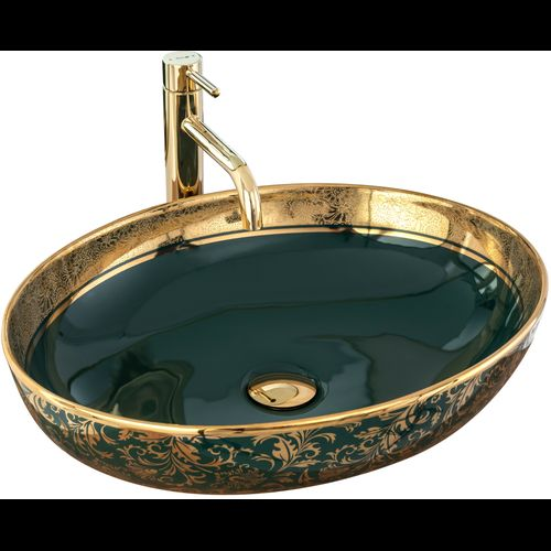 Ceramic Basin Margot Gold/ Green