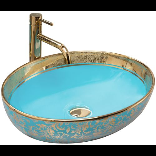 Ceramic Basin Margot Gold/ Blue