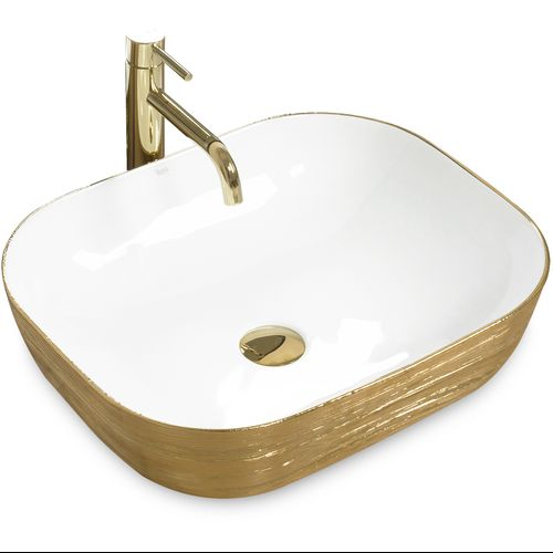 Countertop Basin FLORIA Gold/White