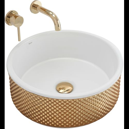Countertop washbasin Rea Helen Gold White
