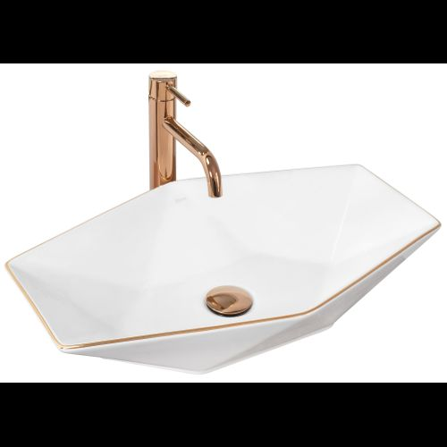 Countertop Basin Rea Vegas White Rose Gold Edge